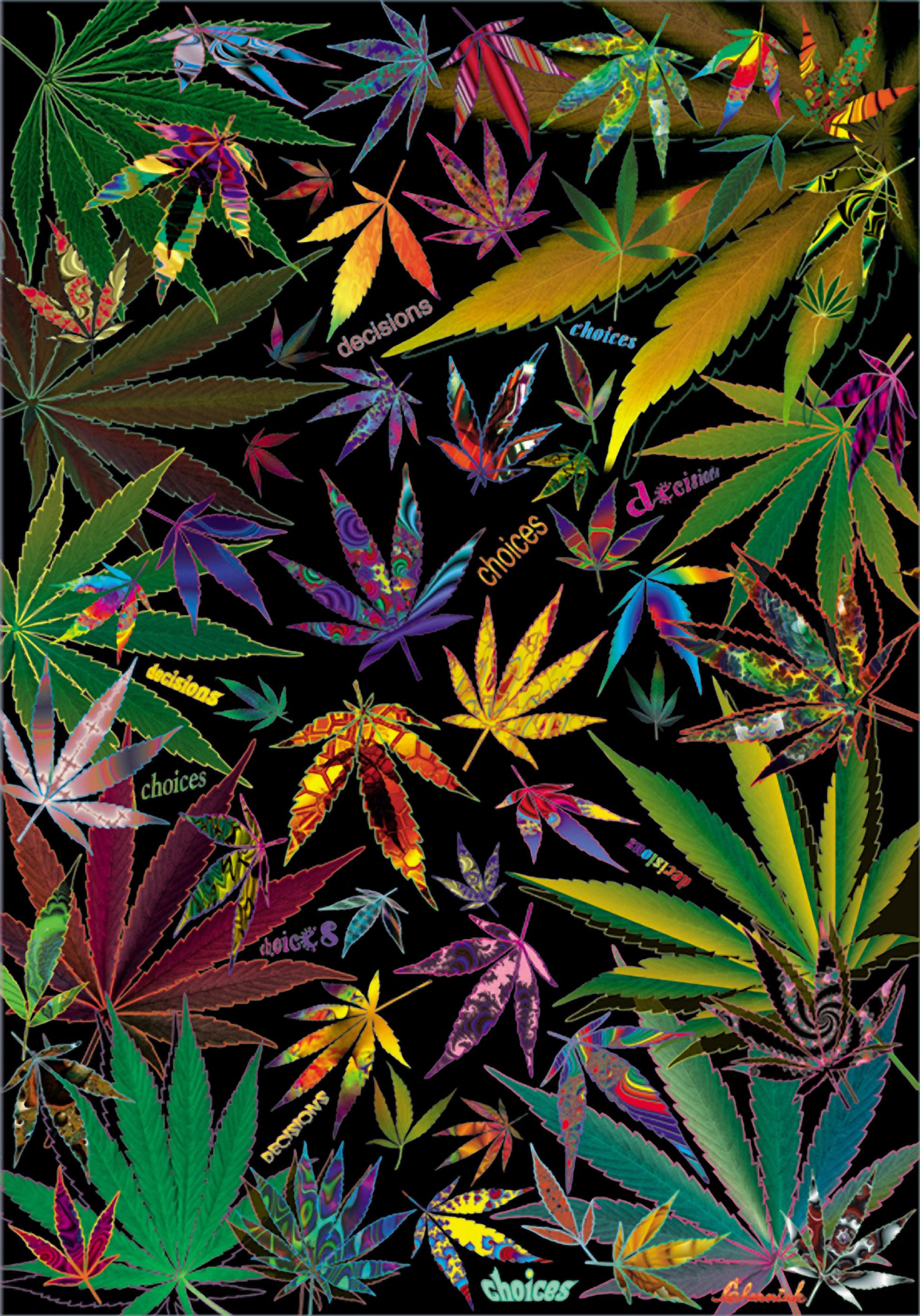 Marijuana Art Leaf Poster No